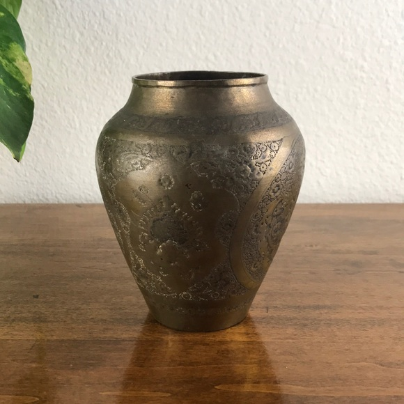 Rare Solid Brass Hand Etched Vase